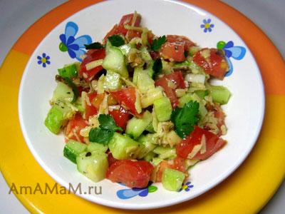 салат из помидоров и огурцов с грецкими орехами