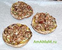 Закуска из фаршированных шляпок грибов Портобелло - начинка из индейки, сыра, масла и горчицы