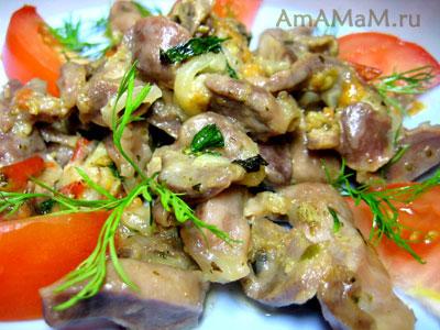 Вкусные куриные пупки, тушеные с овощами и мятой