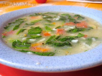 вкусный шпинатный суп с рисом