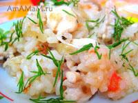 Рецепт жареного риса с грудкой (на сковороде)