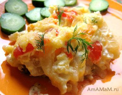 Запекание рыбы с картошкой и овощами-  вкусный рецепт