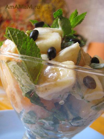 фруктовый десерт - салатик с мятой