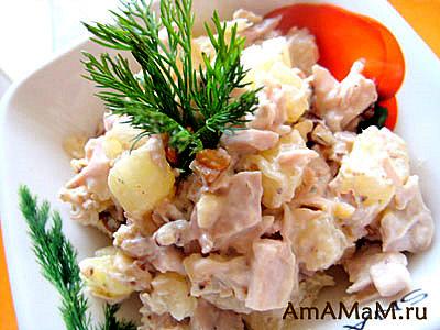 Курино-фруктовый салат