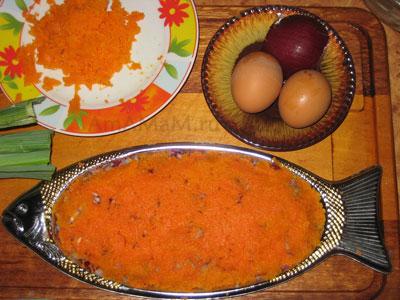 Селедка под шубой - 3 слой - морковный