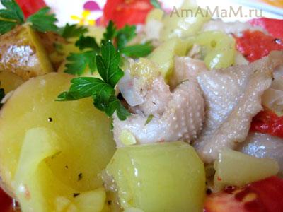 Картофель с подливкой из куриных шкурок - рецепт и фото