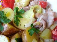 Рецепт - куриные шкурки с картофелем