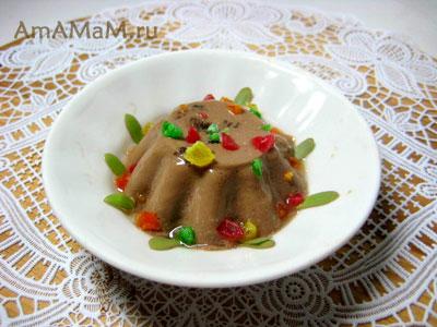 Шоокладный десерт - желе из какао и сметаны (йогурта)