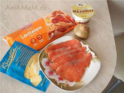 Состав продуктов для приготовления вкусной закуски к пиву - слоеных трубочек с рыбной начинкой
