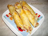 Вкусный слоеные трубочки с начинкой из копченой рыбы - отличная закуска с пиву или вину!