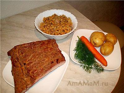 состав продуктов для приготовления горохового супа с копченостями (ребрышками) по эстонскому рецепту