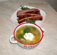 Эстонский гороховый суп с копчеными ребрышками - очень вкусный и простой!
