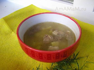 Вкусный, сытный суп из баранины на косточке с тархуном (эстрагоном) и картошкой