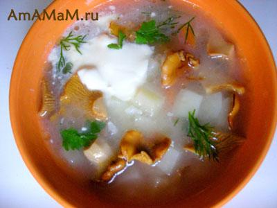 Вкусный грибной суп с лисичками