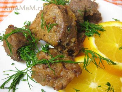 Вкусная тушеная свинина в апельсиновом маринаде с медом и карри и свежими апельсинами