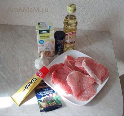 набор продуктов для запекания очень вкусной свинины в корице и горчице