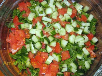 291Салат из булгура с помидорами и зеленью