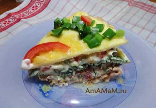 Что приготовить из яиц, сыра, зелени и овощей - вкусный рецепт омлетного пирога!
