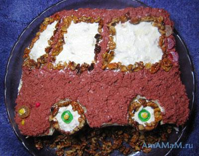 Торт Машина из готового слоеного теста