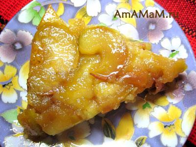 Яблоки в карамели - верх фруктового пирога