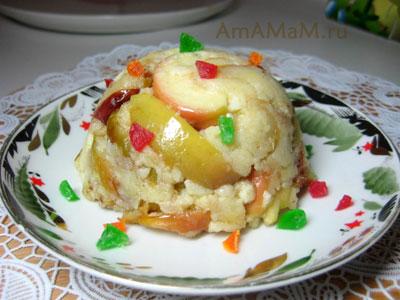 Яблоки в тесте (десерт), сформированый в пиале