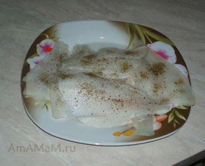 Рецепт филе камбалы с грибами