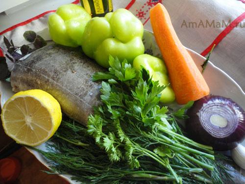 Состав продуктов для запекания рыбы в рукаве в духовке с овощами