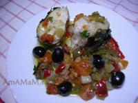 Вкусная мерлуза (хек), запеченная с овощами (замороженными) в духовке