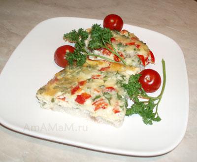 Очень вкусный, нежный и легкий омлет с пангасиусом, перцем и сыром готов!