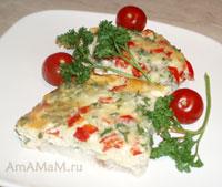 Филе пангасиуса (морского языка), запеченное в омлете с сыром и паприкой - очень вкусное рыбное блюдо