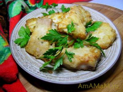 Вкусная жареная рыба в панировке (рисовая мука)