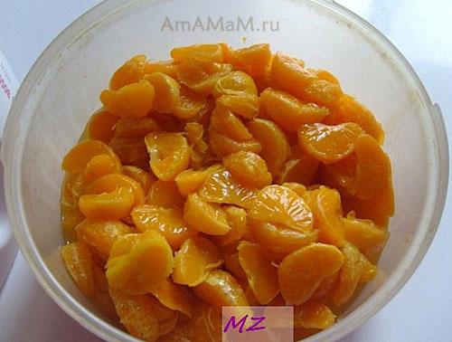 Приготовление фруктового желе из мандаринов и йогурта