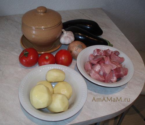 Состав продуктов для запекания жаркого в горшочках