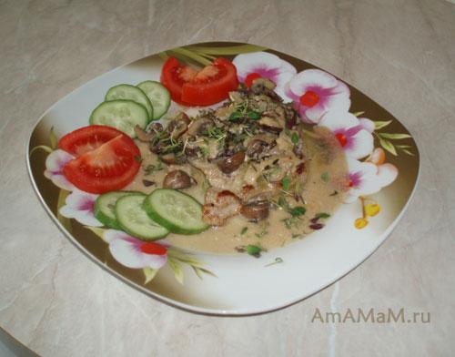 Жарнкое из свинины с грибами - очень вкусное блюдо из свинины с грибами и сливками