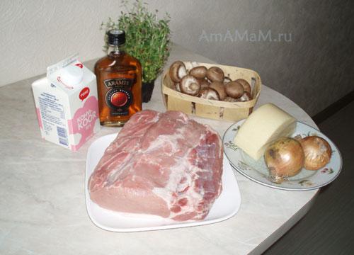 Состав продуктов для свинины с грибами в сливочном соусе