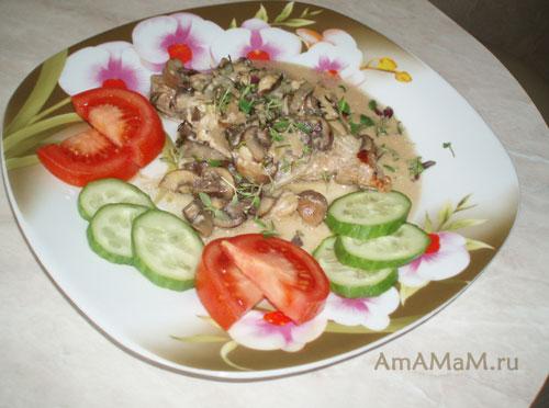Очень вкусное блюдо из свинины с грибами и сливками