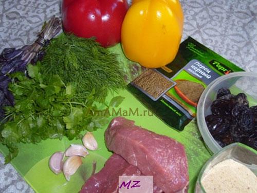 Состав продуктов для жарки горядины с перцем и черносливом
