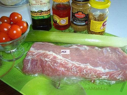 Состав продуктов для запекания свинины целым куском в рукаве для запекания