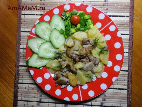 Вкусное, сытное и простое грибное блюдо из вешенок и картофеля