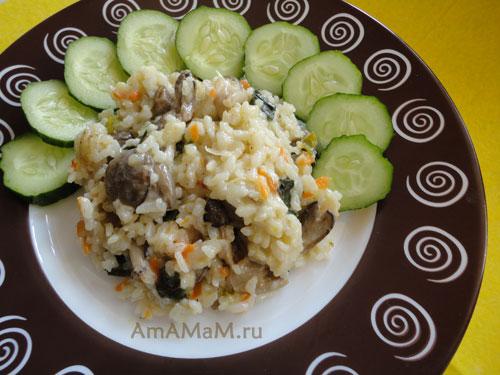 Вкусное грибное ризотто - легкий и простой, сытный ужин без мяса!