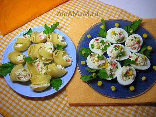 Закуска из фаршированных лумакони и фаршированных яиц