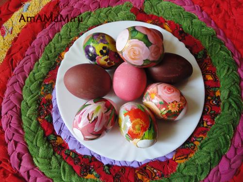 Крашеные яйца и яйца в термоэтикетках