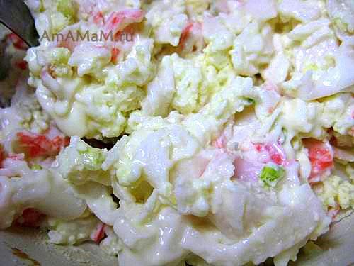 Салат с крабовыми палочками для фарширования итальянских макарон лумакони и конкильони