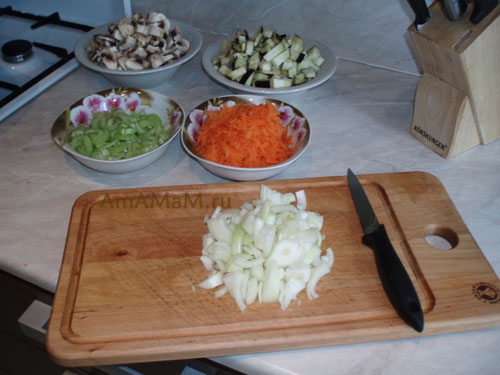 ПРиготовление макаронов с овощами