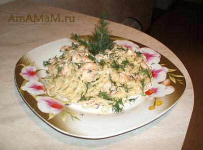 Паста с креветками в сливочном соусе - рецепт