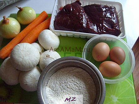 Состав продуктов, которые требуются для приготовления рулета из печени