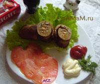 Очень вкусный печеньчный рулет с начинкой из грибов и овощей!