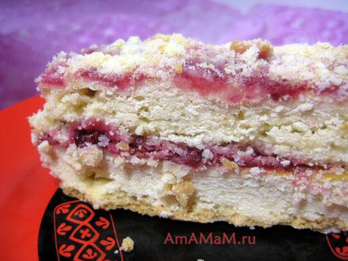 Песочное пирожное на срезе - фото