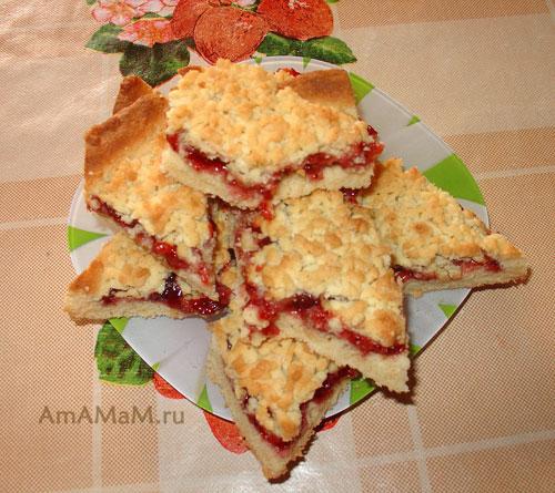 Очень вкусное песочное печенье с вареньем - нарезка тертого пирога!