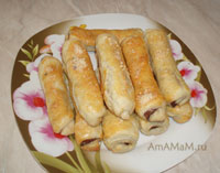 Очень вкусные соленые трубочки с салями, маслинами и сыром!